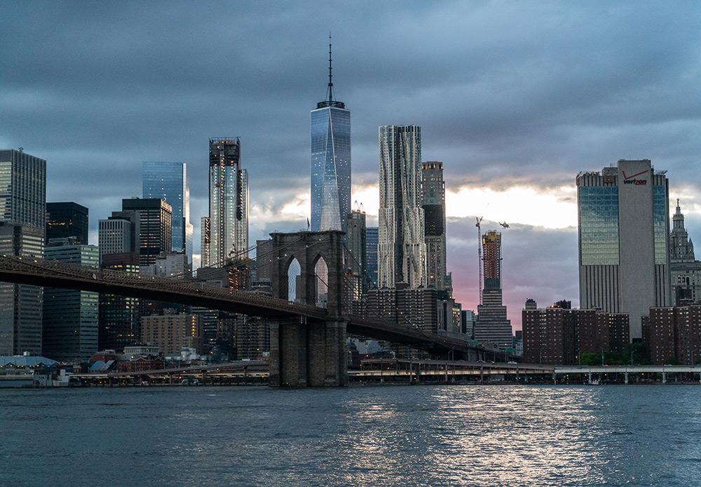 new york city skyline shot at dusk from brooklyn