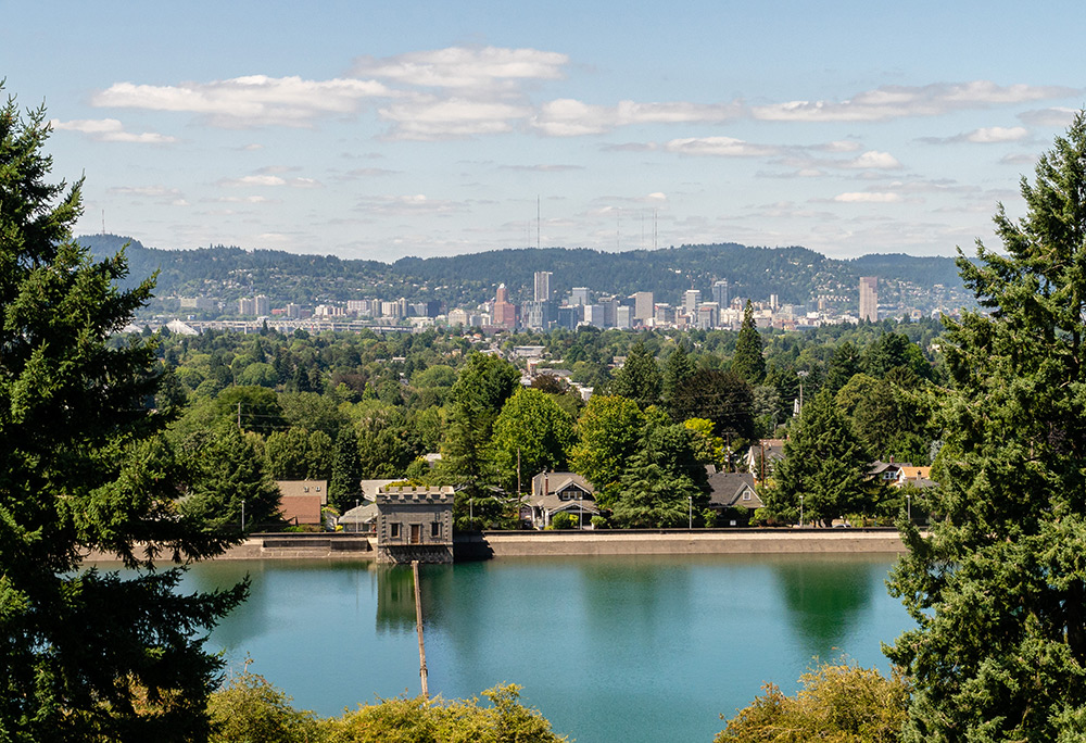 view of portland oregon from mt tabor park photo spot